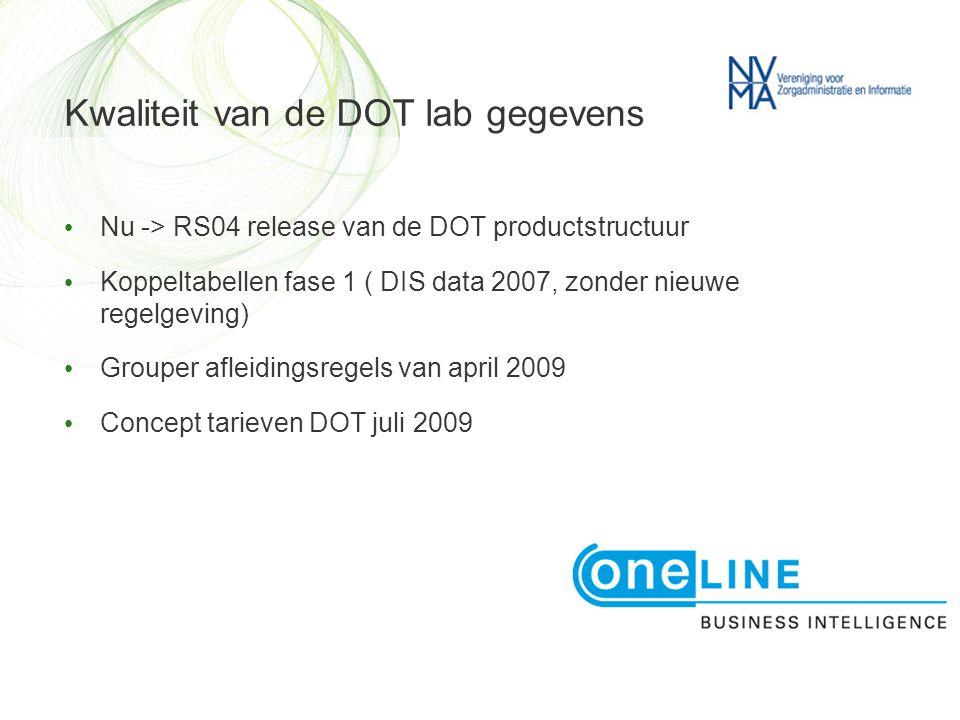 Kwaliteit van de DOT lab gegevens • Nu -> RS04 release van de DOT productstructuur • Koppeltabellen fase 1 ( DIS data 2007, zonder nieuwe regelgeving) • Grouper afleidingsregels van april 2009 • Concept tarieven DOT juli 2009