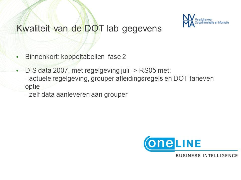 Kwaliteit van de DOT lab gegevens • Binnenkort: koppeltabellen fase 2 • DIS data 2007, met regelgeving juli -> RS05 met: - actuele regelgeving, grouper afleidingsregels en DOT tarieven optie - zelf data aanleveren aan grouper