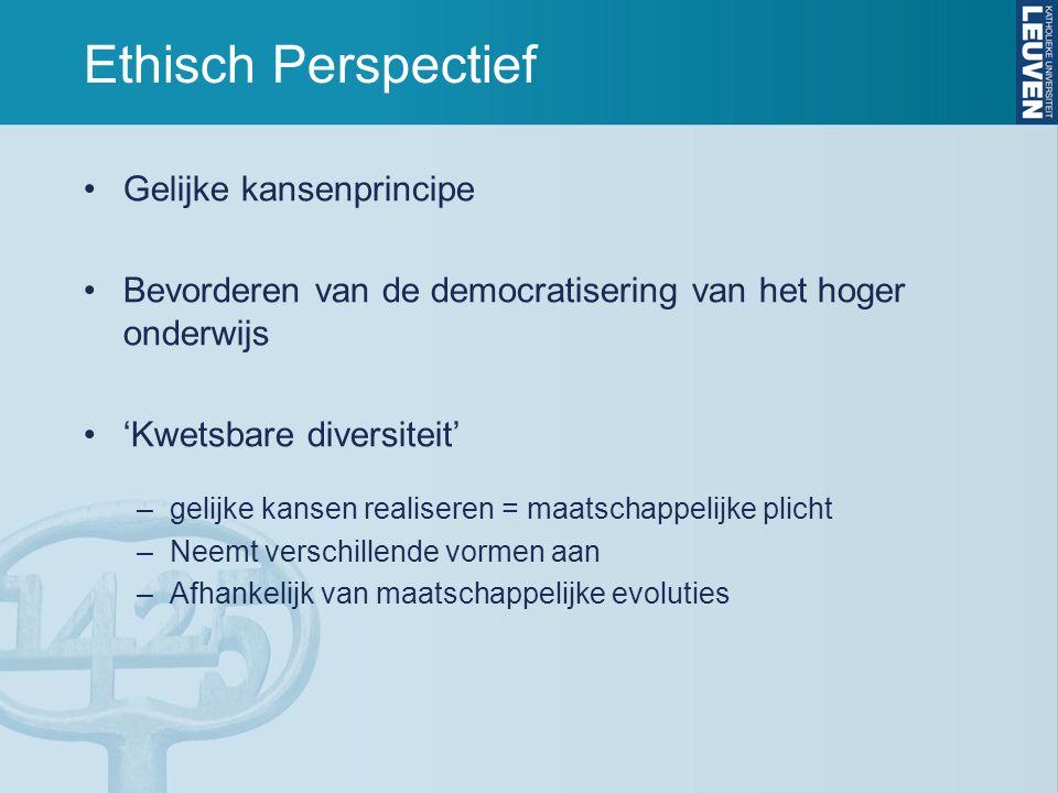 Ethisch Perspectief •Gelijke kansenprincipe •Bevorderen van de democratisering van het hoger onderwijs •'Kwetsbare diversiteit' –gelijke kansen realis