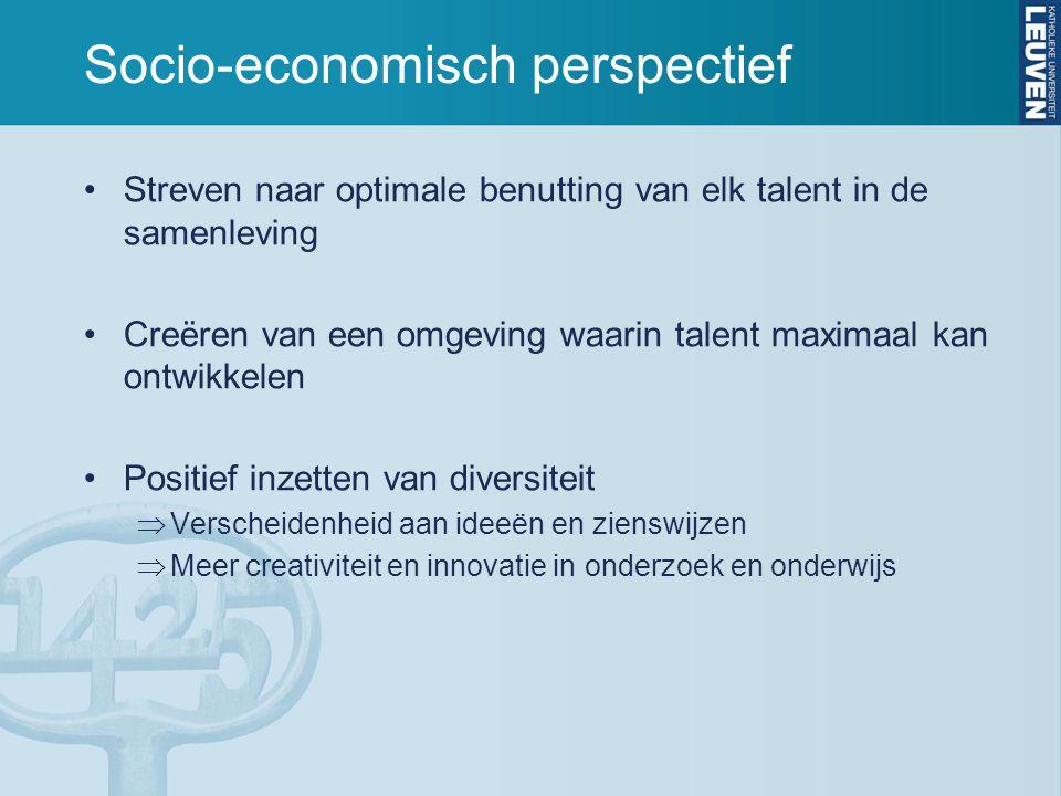 Socio-economisch perspectief •Streven naar optimale benutting van elk talent in de samenleving •Creëren van een omgeving waarin talent maximaal kan on