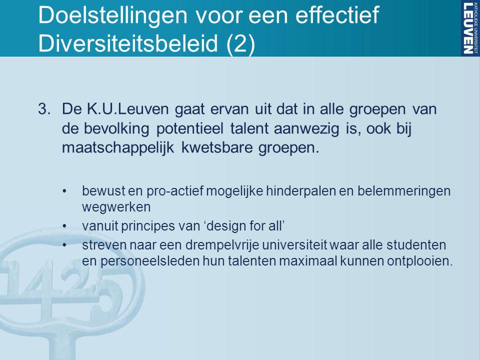 Doelstellingen voor een effectief Diversiteitsbeleid (2) 3.De K.U.Leuven gaat ervan uit dat in alle groepen van de bevolking potentieel talent aanwezi