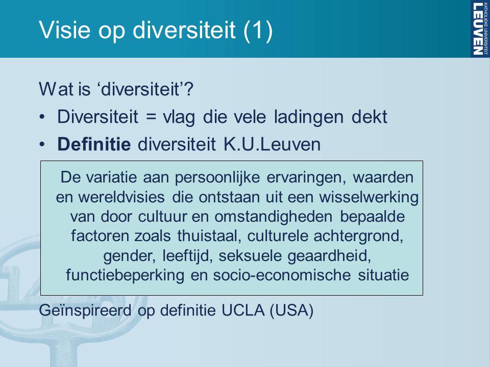 Visie op diversiteit (1) Wat is 'diversiteit'? •Diversiteit = vlag die vele ladingen dekt •Definitie diversiteit K.U.Leuven Geïnspireerd op definitie