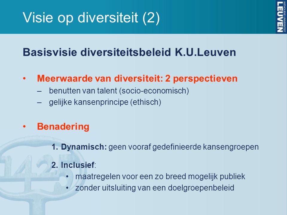 Visie op diversiteit (2) Basisvisie diversiteitsbeleid K.U.Leuven •Meerwaarde van diversiteit: 2 perspectieven –benutten van talent (socio-economisch)
