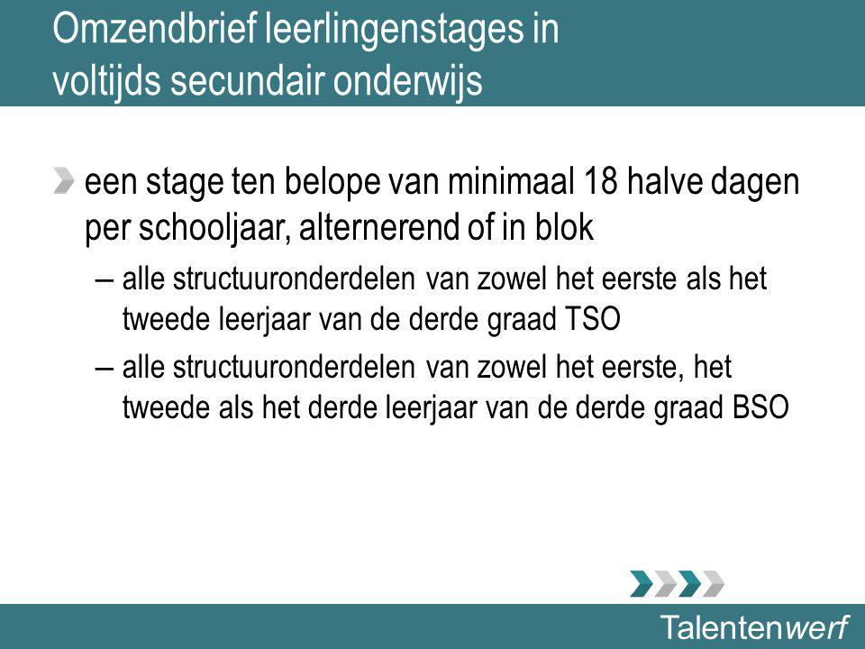 Talentenwerf Omzendbrief leerlingenstages in voltijds secundair onderwijs een stage ten belope van minimaal 18 halve dagen per schooljaar, alternerend