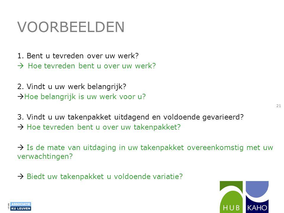 VOORBEELDEN 1. Bent u tevreden over uw werk?  Hoe tevreden bent u over uw werk? 2. Vindt u uw werk belangrijk?  Hoe belangrijk is uw werk voor u? 3.