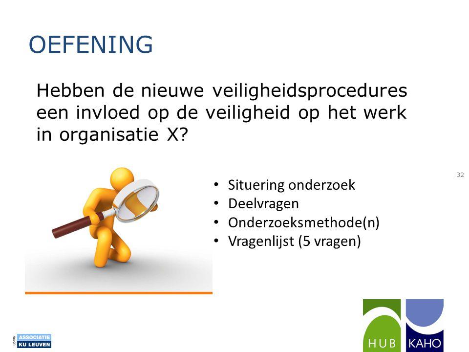 OEFENING 32 Hebben de nieuwe veiligheidsprocedures een invloed op de veiligheid op het werk in organisatie X? • Situering onderzoek • Deelvragen • Ond