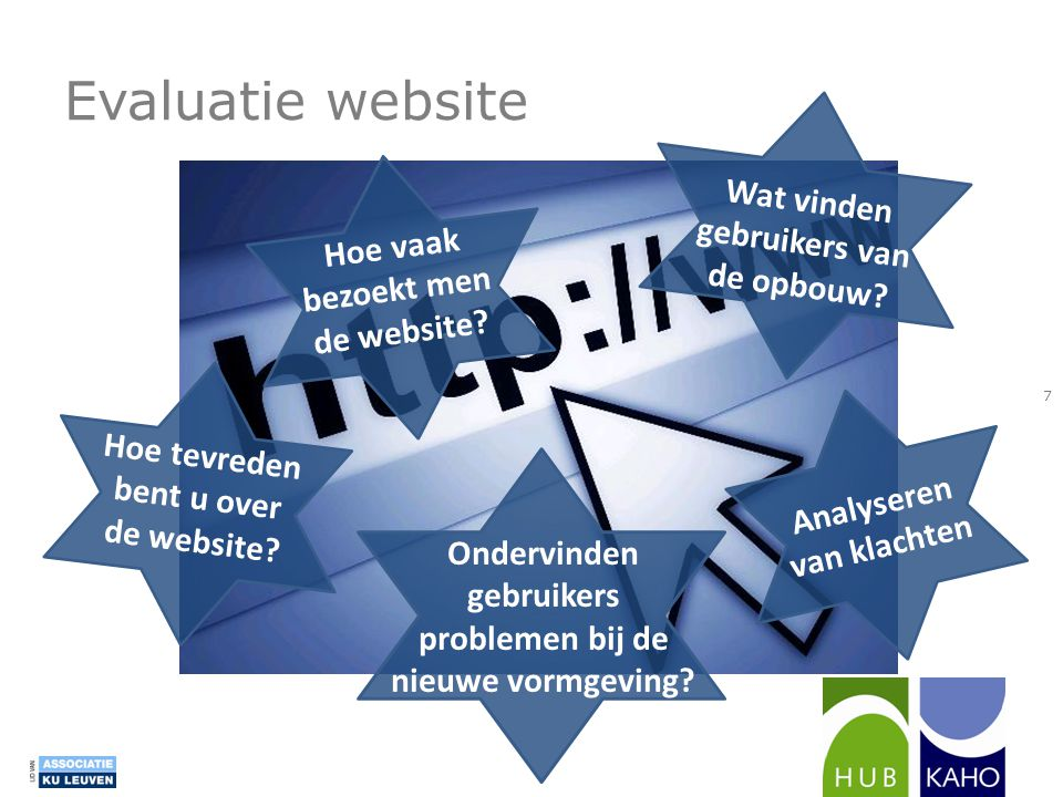 Evaluatie website Hoe tevreden bent u over de website? Wat vinden gebruikers van de opbouw? Hoe vaak bezoekt men de website? Analyseren van klachten O