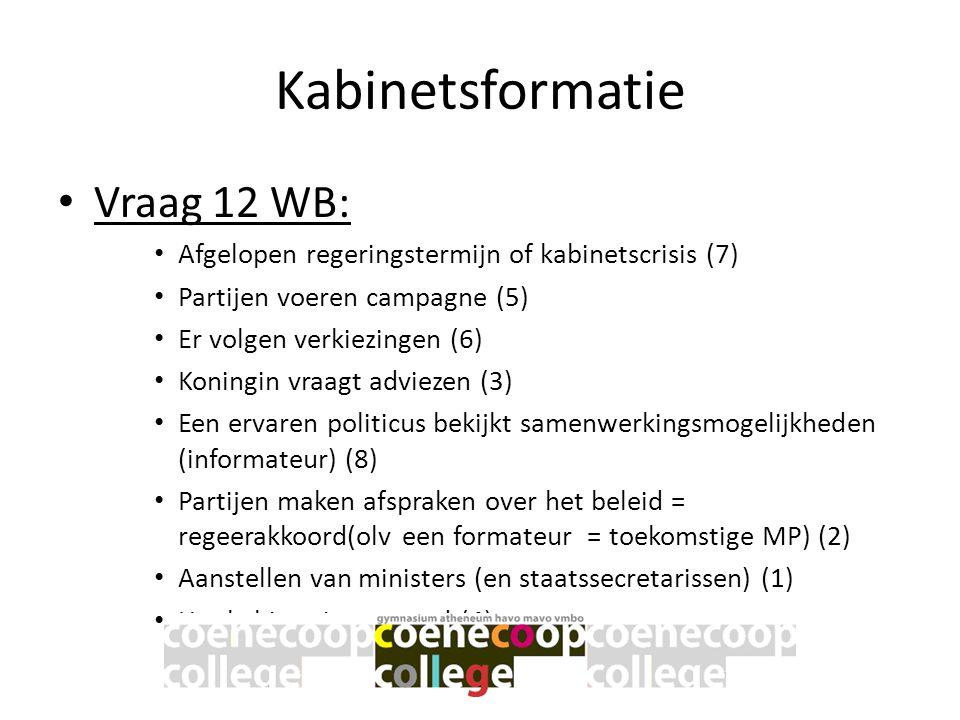 Kabinetsformatie • Vraag 12 WB: • Afgelopen regeringstermijn of kabinetscrisis (7) • Partijen voeren campagne (5) • Er volgen verkiezingen (6) • Konin