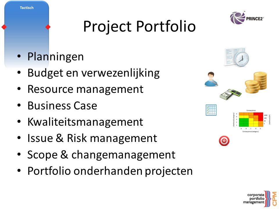 Project Portfolio • Planningen • Budget en verwezenlijking • Resource management • Business Case • Kwaliteitsmanagement • Issue & Risk management • Sc
