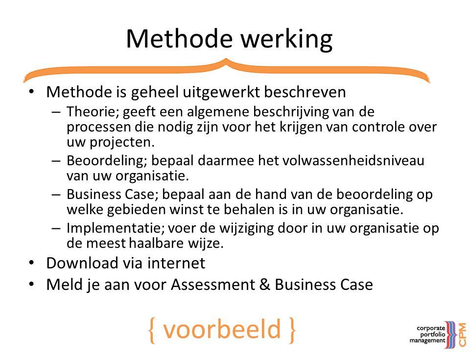 Methode werking • Methode is geheel uitgewerkt beschreven – Theorie; geeft een algemene beschrijving van de processen die nodig zijn voor het krijgen