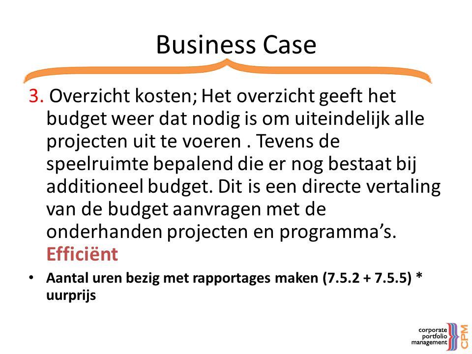 Business Case 3. Overzicht kosten; Het overzicht geeft het budget weer dat nodig is om uiteindelijk alle projecten uit te voeren. Tevens de speelruimt