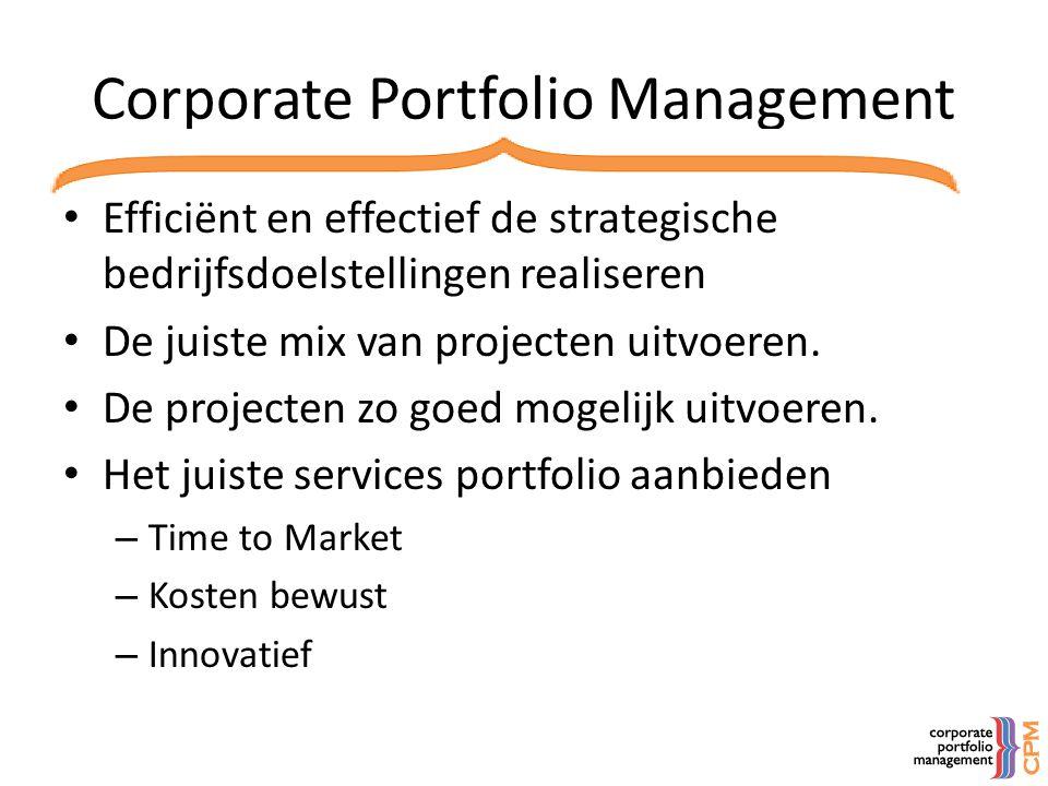 Corporate Portfolio Management • Efficiënt en effectief de strategische bedrijfsdoelstellingen realiseren • De juiste mix van projecten uitvoeren. • D