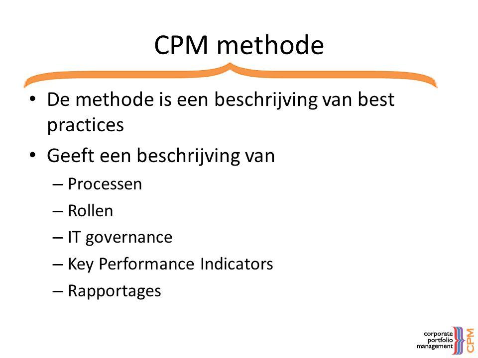 CPM methode • De methode is een beschrijving van best practices • Geeft een beschrijving van – Processen – Rollen – IT governance – Key Performance In