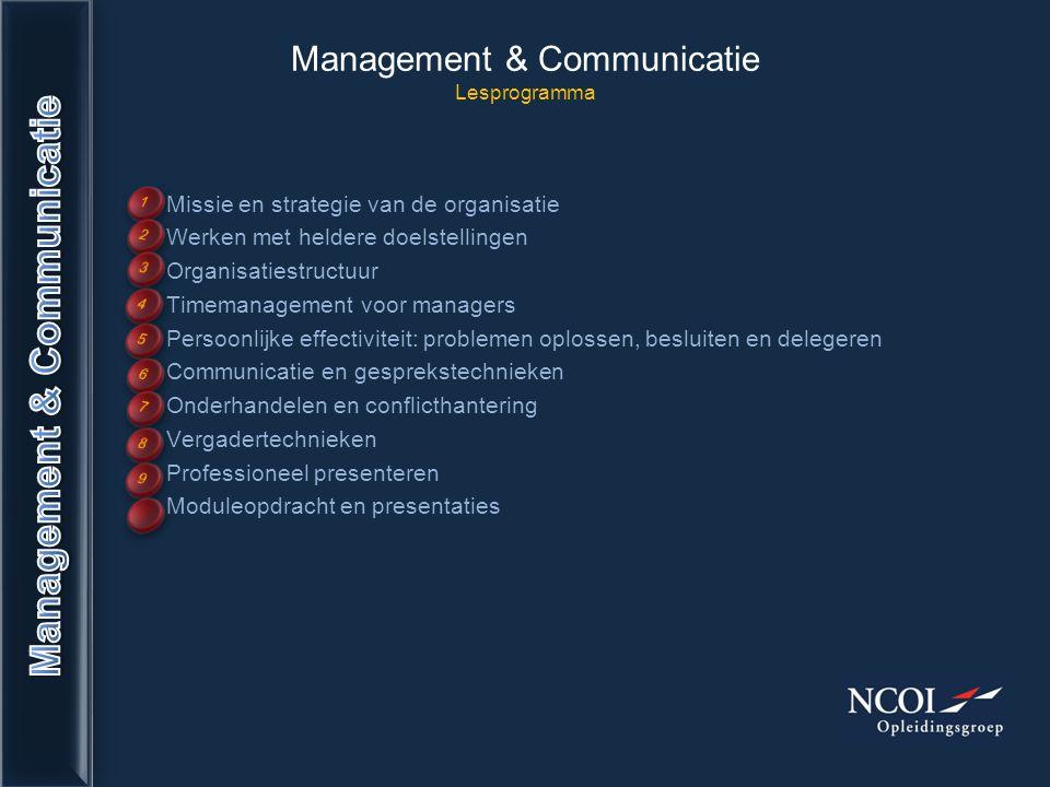 Management & Communicatie Lesprogramma Missie en strategie van de organisatie Werken met heldere doelstellingen Organisatiestructuur Timemanagement vo