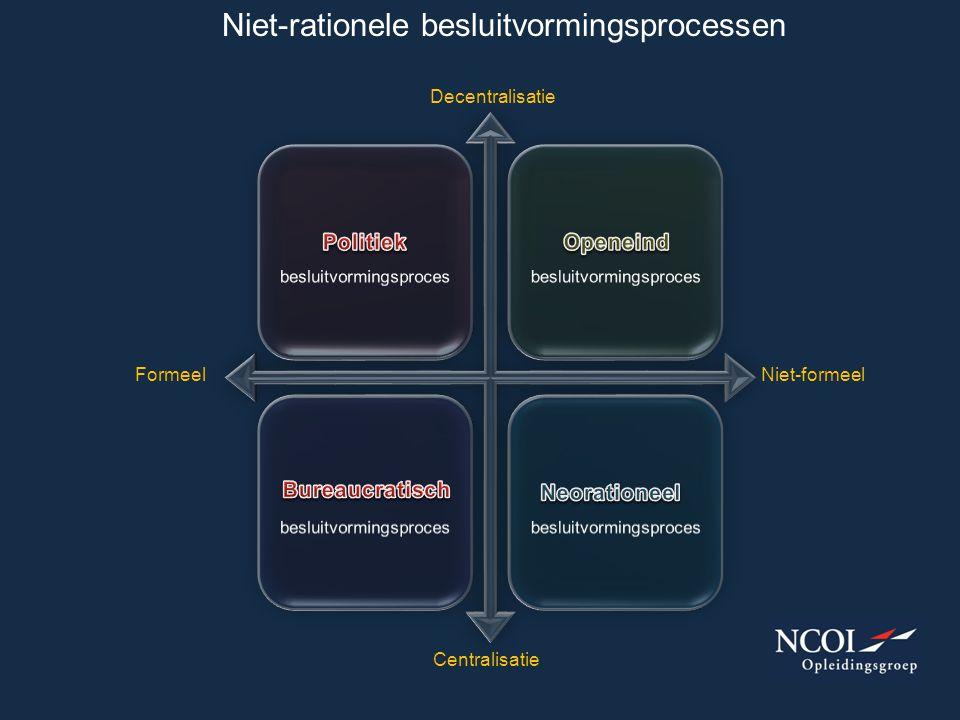 Niet-rationele besluitvormingsprocessen FormeelNiet-formeel Centralisatie Decentralisatie