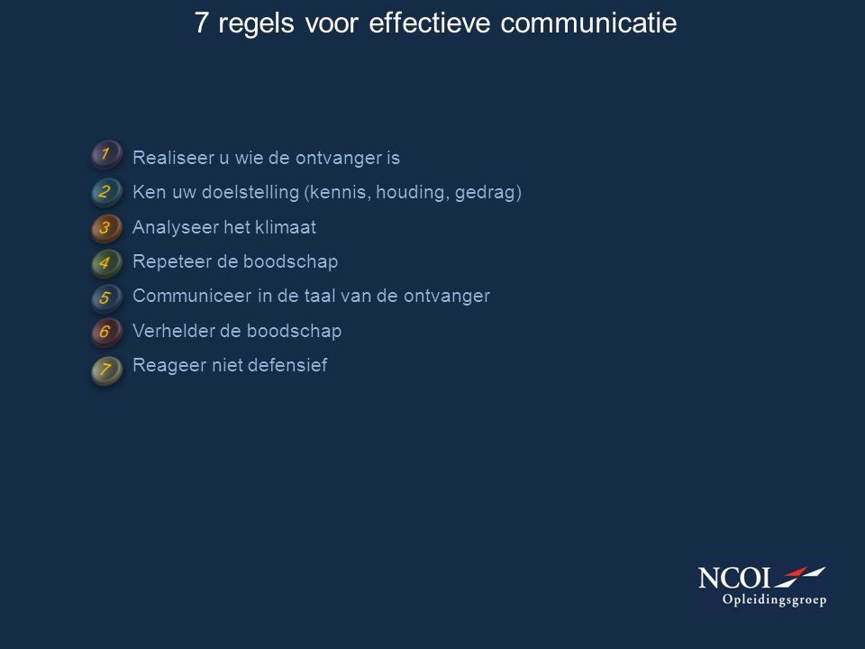 7 regels voor effectieve communicatie Realiseer u wie de ontvanger is Ken uw doelstelling (kennis, houding, gedrag) Analyseer het klimaat Repeteer de