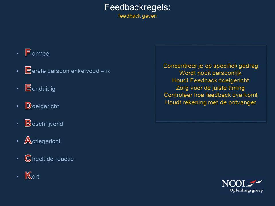 Feedbackregels: feedback geven • ormeel • erste persoon enkelvoud = ik • enduidig • oelgericht • eschrijvend • ctiegericht • heck de reactie • ort Con