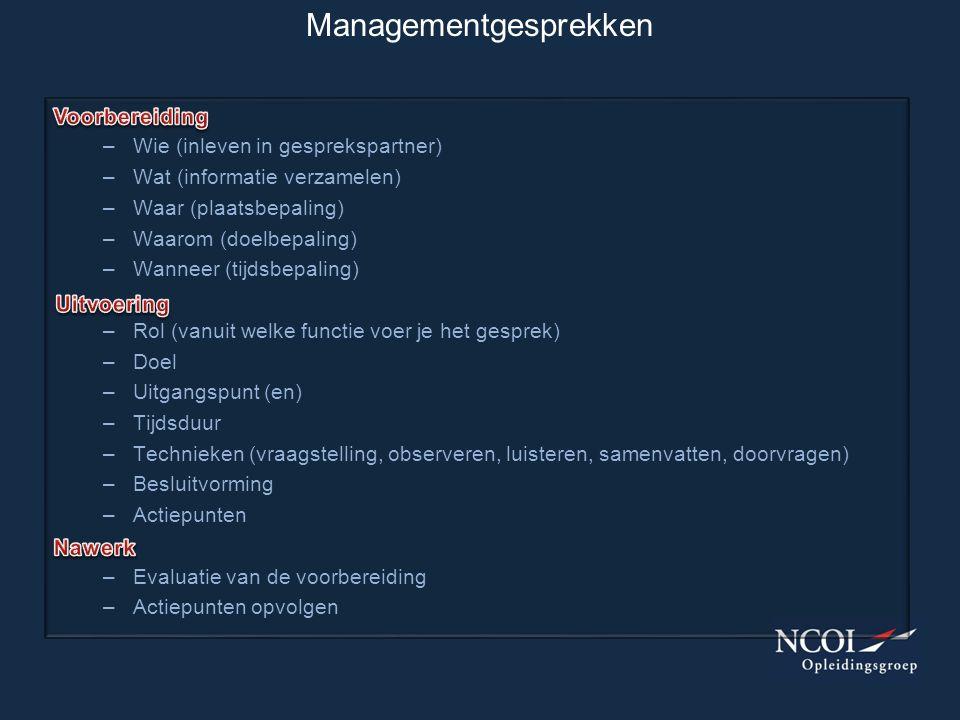 Managementgesprekken –Wie (inleven in gesprekspartner) –Wat (informatie verzamelen) –Waar (plaatsbepaling) –Waarom (doelbepaling) –Wanneer (tijdsbepal
