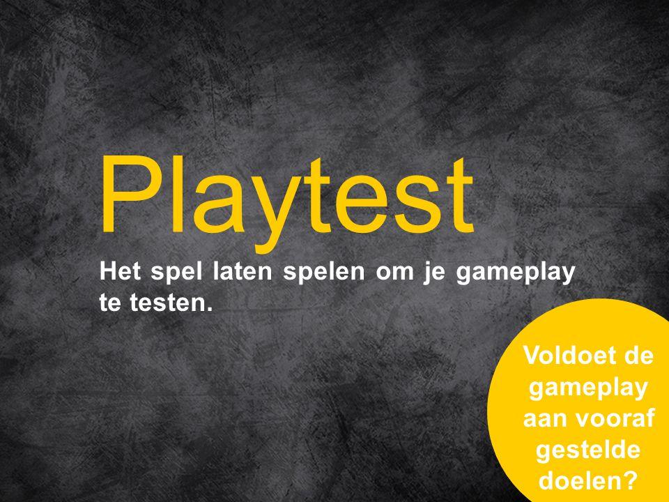 Het spel laten spelen om je gameplay te testen.
