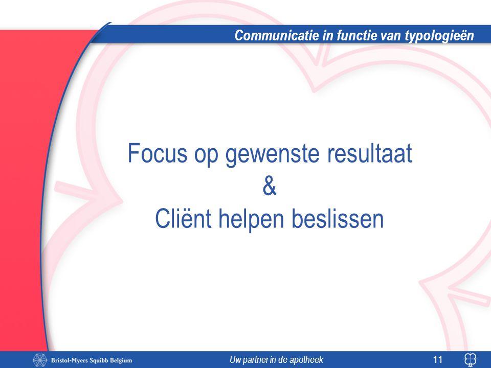 Uw partner in de apotheek Communicatie in functie van typologieën 11 Focus op gewenste resultaat & Cliënt helpen beslissen