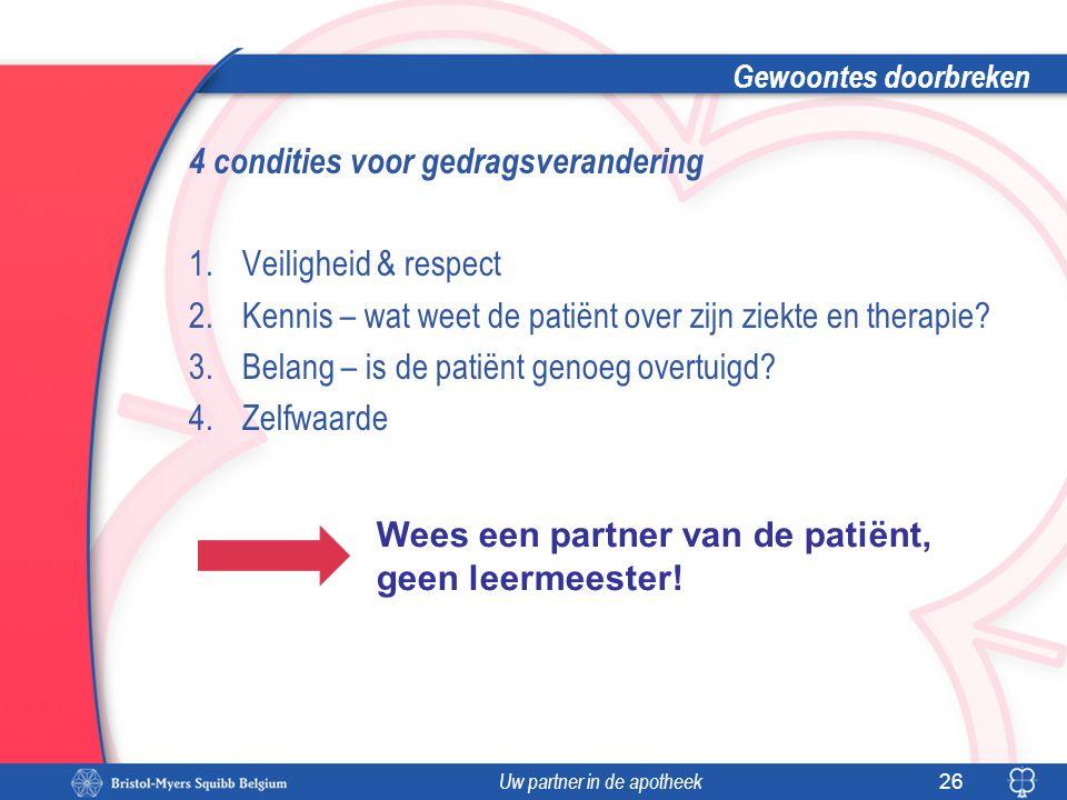 Uw partner in de apotheek Gewoontes doorbreken 4 condities voor gedragsverandering 1.Veiligheid & respect 2.Kennis – wat weet de patiënt over zijn zie