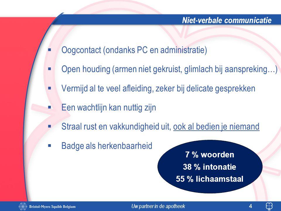 Uw partner in de apotheek Niet-verbale communicatie  Oogcontact (ondanks PC en administratie)  Open houding (armen niet gekruist, glimlach bij aansp