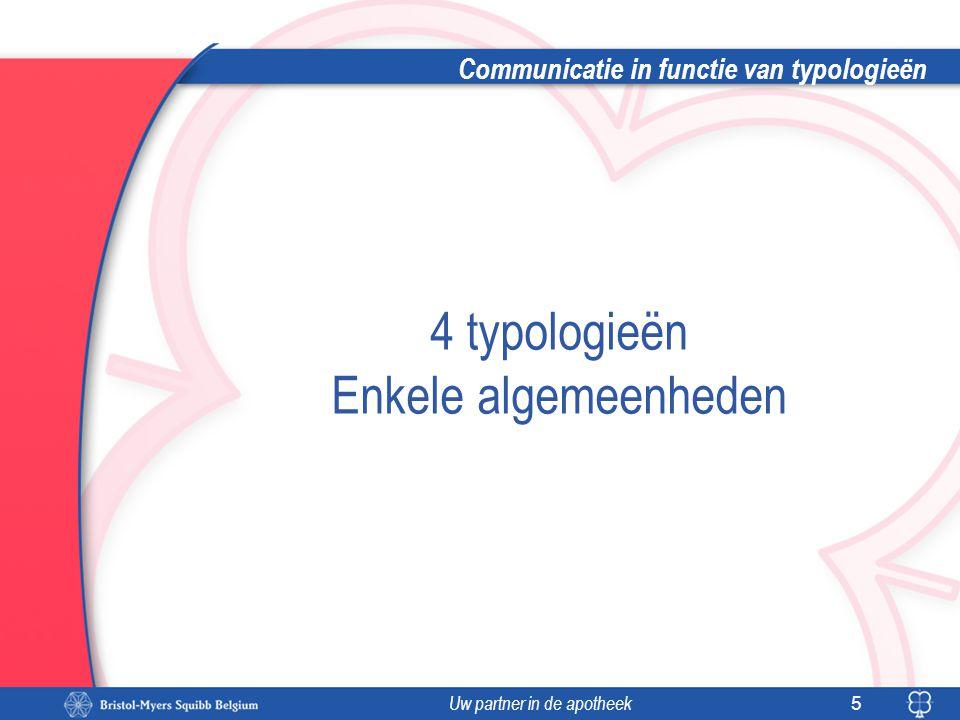 Uw partner in de apotheek Communicatie in functie van typologieën 5 4 typologieën Enkele algemeenheden