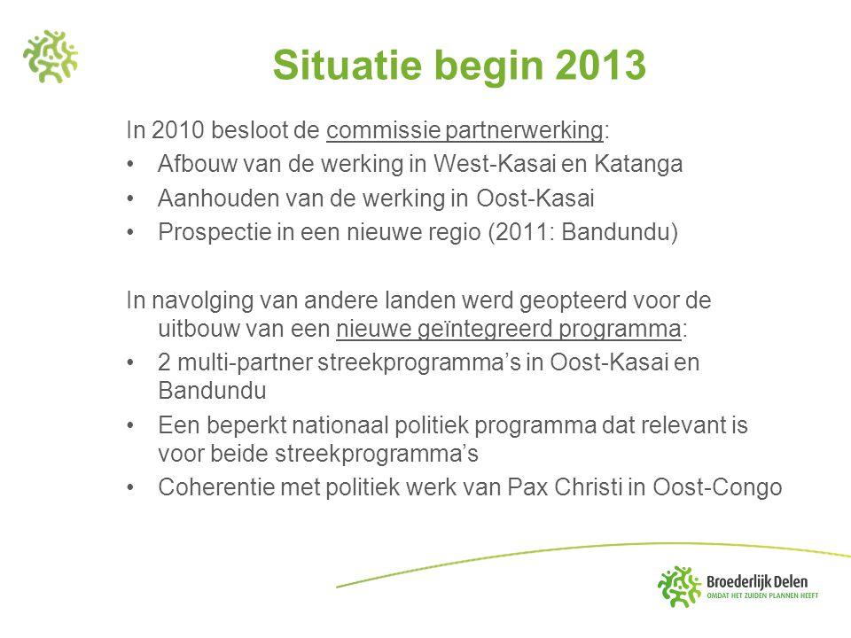 Situatie begin 2013 In 2010 besloot de commissie partnerwerking: •Afbouw van de werking in West-Kasai en Katanga •Aanhouden van de werking in Oost-Kas