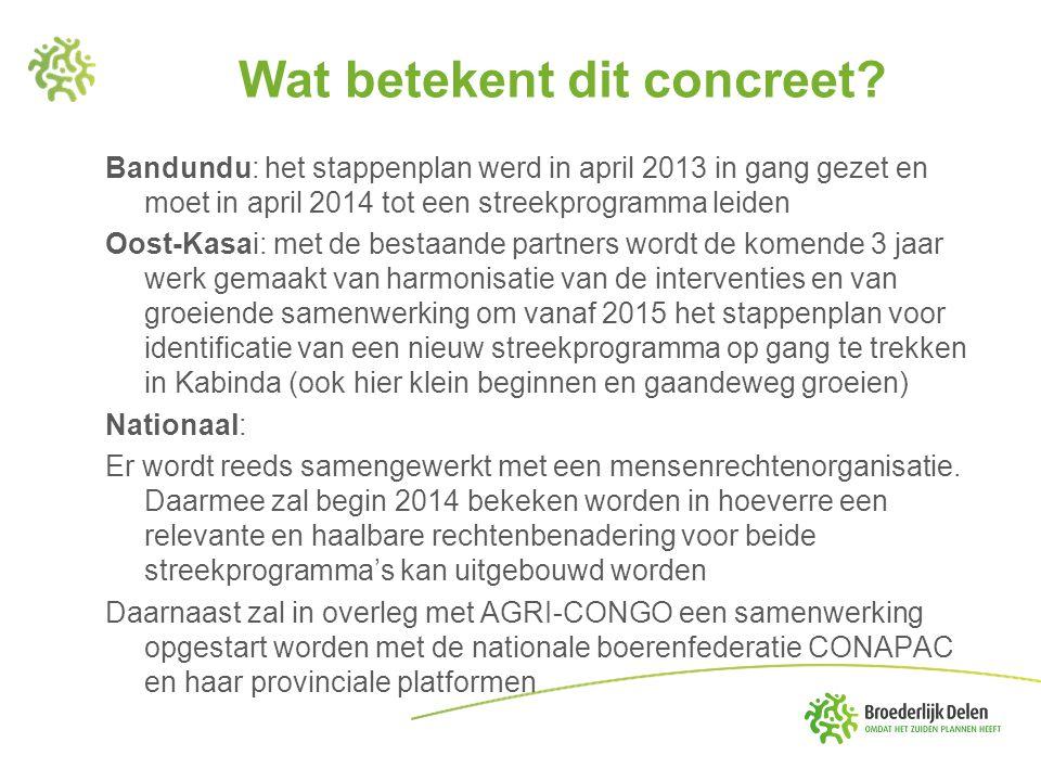 Wat betekent dit concreet? Bandundu: het stappenplan werd in april 2013 in gang gezet en moet in april 2014 tot een streekprogramma leiden Oost-Kasai: