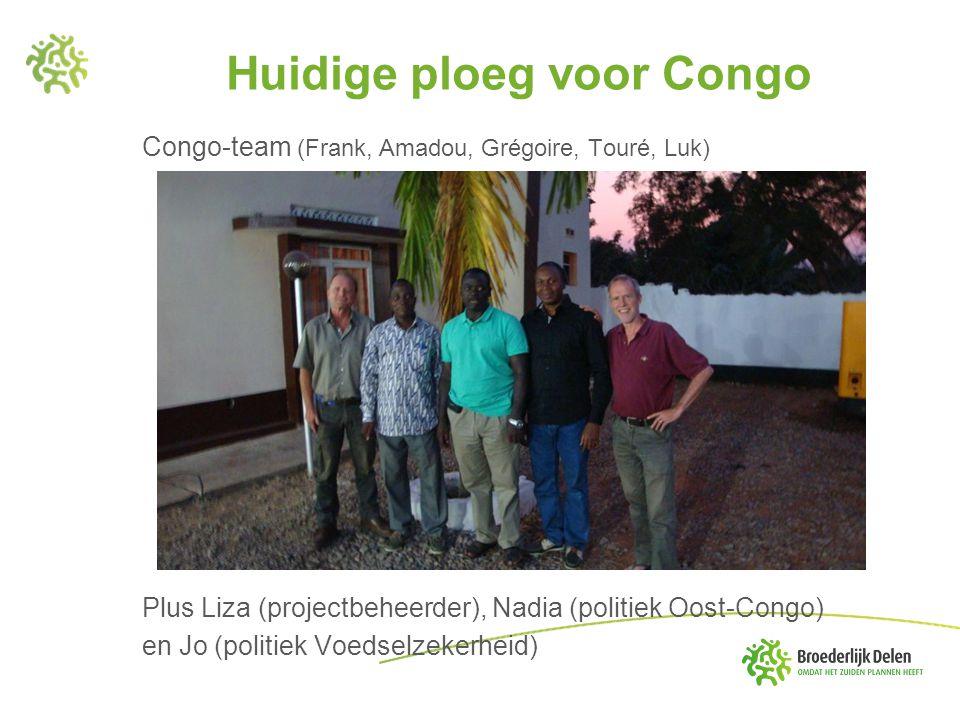 Huidige ploeg voor Congo Congo-team (Frank, Amadou, Grégoire, Touré, Luk) Plus Liza (projectbeheerder), Nadia (politiek Oost-Congo) en Jo (politiek Vo