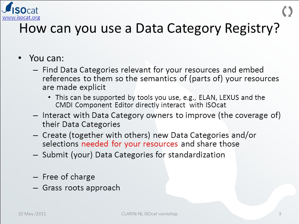 10 May /2011CLARIN-NL ISOcat workshop3 How can you use a Data Category Registry.