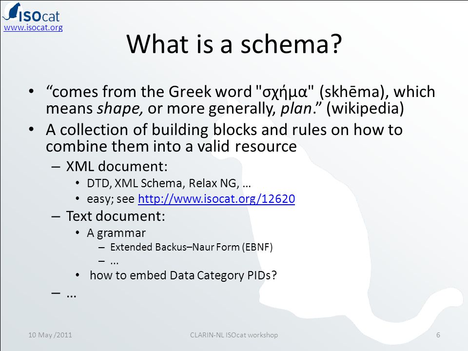 "www.isocat.org What is a schema? • ""comes from the Greek word"
