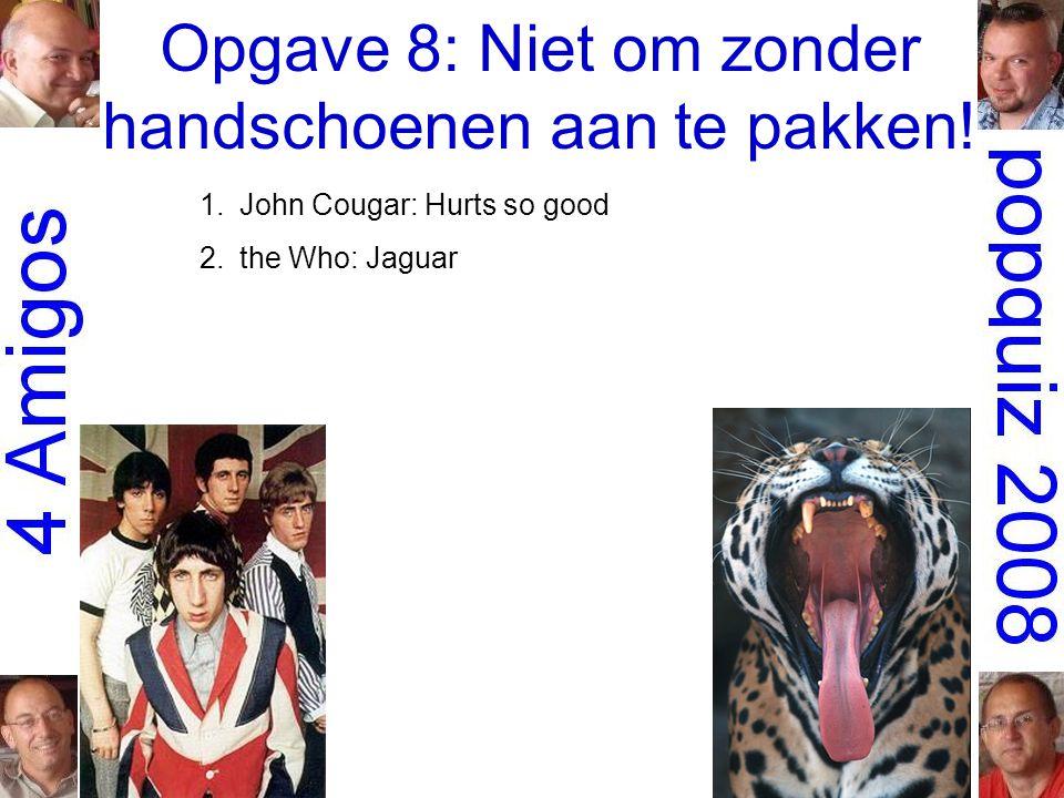 Opgave 8: Niet om zonder handschoenen aan te pakken! 1.John Cougar: Hurts so good 2.the Who: Jaguar