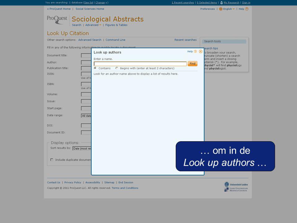 … om in de Look up authors …