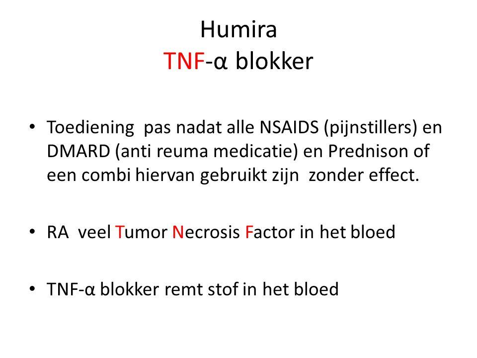 Humira TNF-α blokker • Toediening pas nadat alle NSAIDS (pijnstillers) en DMARD (anti reuma medicatie) en Prednison of een combi hiervan gebruikt zijn zonder effect.
