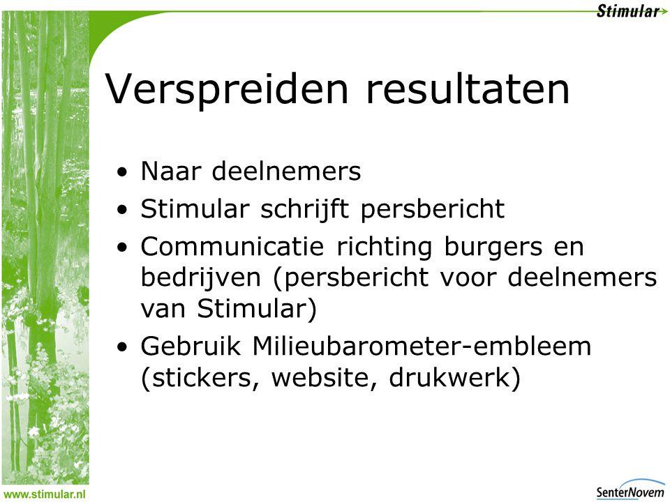 Verspreiden resultaten •Naar deelnemers •Stimular schrijft persbericht •Communicatie richting burgers en bedrijven (persbericht voor deelnemers van Stimular) •Gebruik Milieubarometer-embleem (stickers, website, drukwerk)
