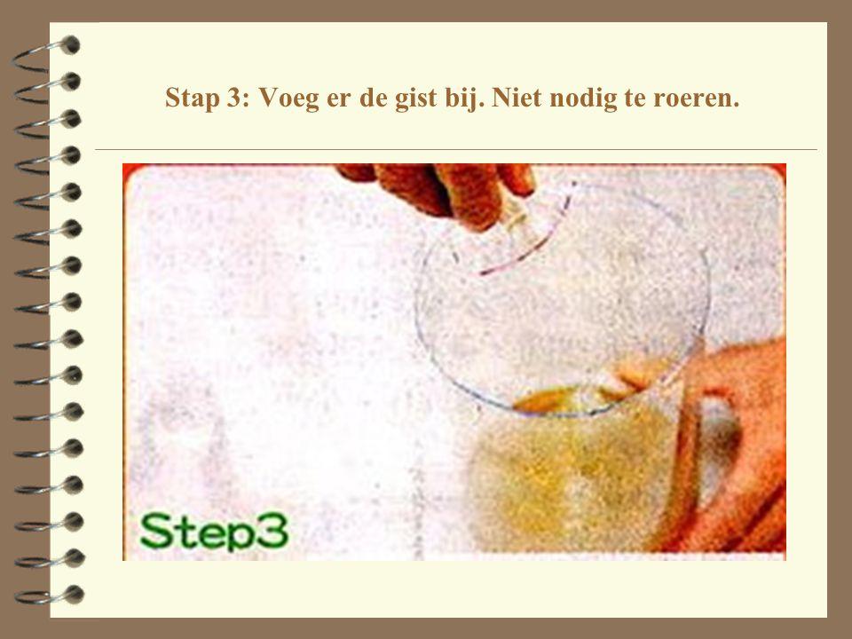 Stap 3: Voeg er de gist bij. Niet nodig te roeren.