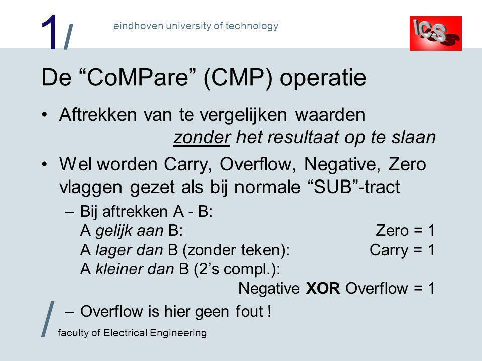 1/1/ / faculty of Electrical Engineering eindhoven university of technology De CoMPare (CMP) operatie •Aftrekken van te vergelijken waarden zonder het resultaat op te slaan •Wel worden Carry, Overflow, Negative, Zero vlaggen gezet als bij normale SUB -tract –Bij aftrekken A - B: A gelijk aan B:Zero = 1 A lager dan B (zonder teken):Carry = 1 A kleiner dan B (2's compl.): Negative XOR Overflow = 1 –Overflow is hier geen fout !