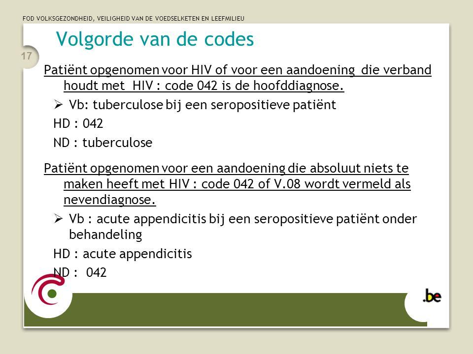 FOD VOLKSGEZONDHEID, VEILIGHEID VAN DE VOEDSELKETEN EN LEEFMILIEU 17 Volgorde van de codes Patiënt opgenomen voor HIV of voor een aandoening die verba