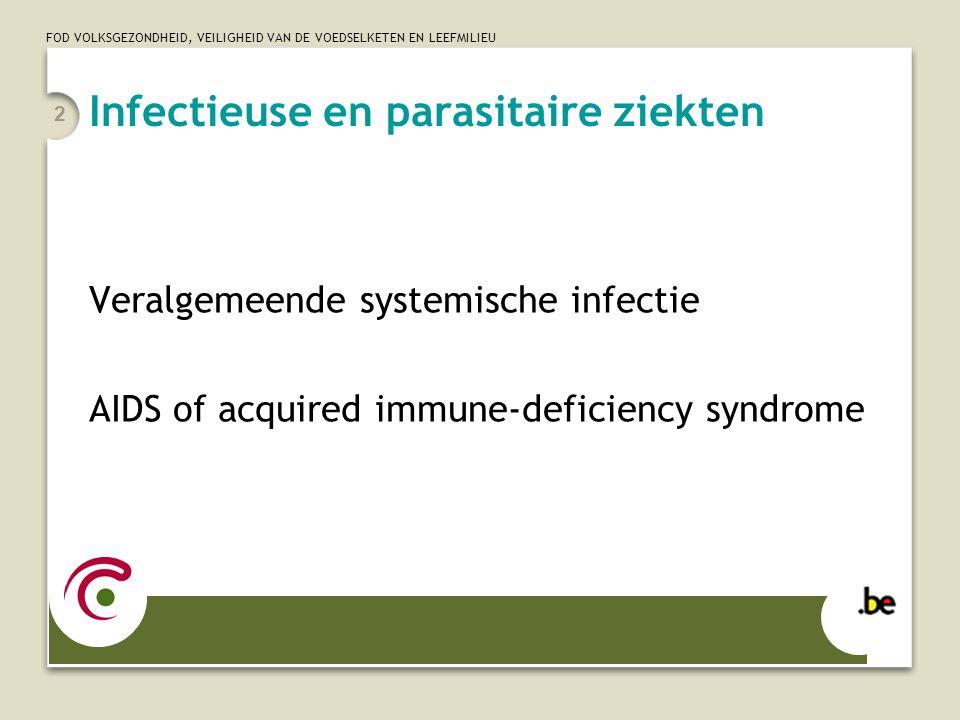 FOD VOLKSGEZONDHEID, VEILIGHEID VAN DE VOEDSELKETEN EN LEEFMILIEU 2 Infectieuse en parasitaire ziekten Veralgemeende systemische infectie AIDS of acqu
