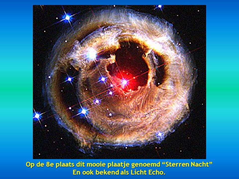 Op de 7e plaats vinden we een voorbeeld van de Zwaan Nevel op 5.500 lichtjaar beschreven als een oceaan van waterstof met kleine hoeveelheden zuurstof