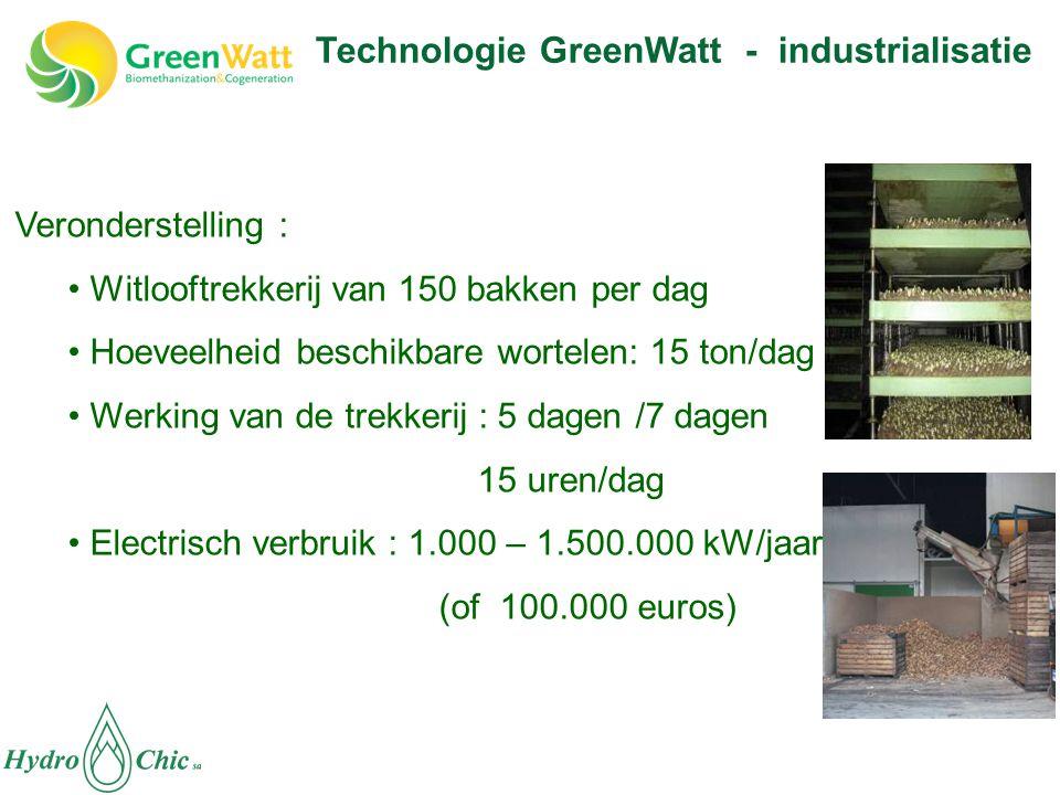 Technologie GreenWatt - industrialisatie Veronderstelling : • Witlooftrekkerij van 150 bakken per dag • Hoeveelheid beschikbare wortelen: 15 ton/dag • Werking van de trekkerij : 5 dagen /7 dagen 15 uren/dag • Electrisch verbruik : 1.000 – 1.500.000 kW/jaar (of 100.000 euros)