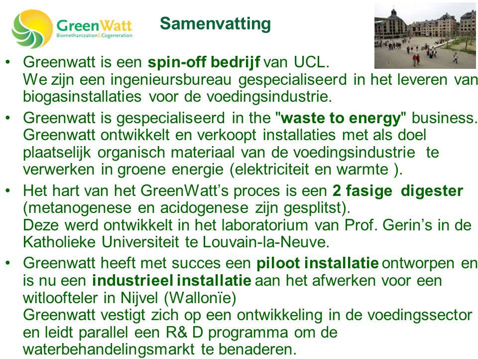 •Greenwatt is een spin-off bedrijf van UCL. We zijn een ingenieursbureau gespecialiseerd in het leveren van biogasinstallaties voor de voedingsindustr