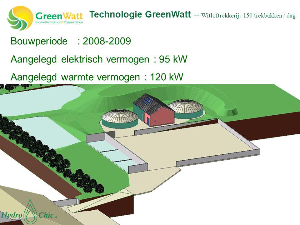 Bouwperiode : 2008-2009 Aangelegd elektrisch vermogen : 95 kW Aangelegd warmte vermogen : 120 kW Technologie GreenWatt – Witloftrekkerij : 150 trekbak
