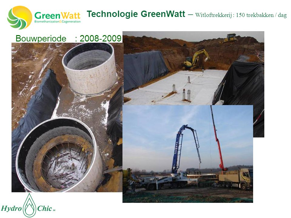 Bouwperiode : 2008-2009 Technologie GreenWatt – Witloftrekkerij : 150 trekbakken / dag