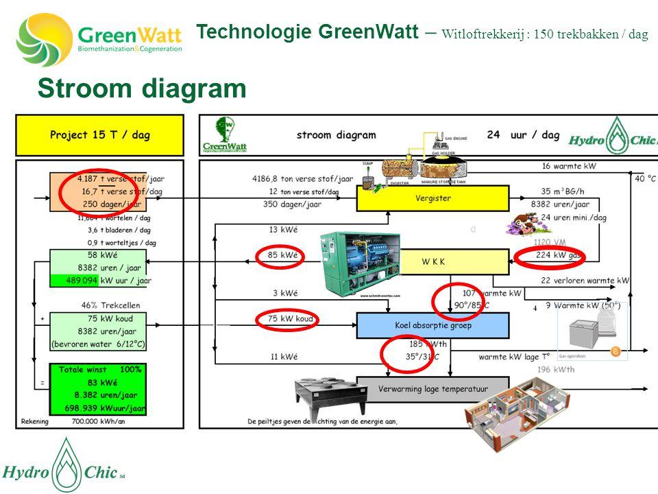 Stroom diagram 4 Technologie GreenWatt – Witloftrekkerij : 150 trekbakken / dag