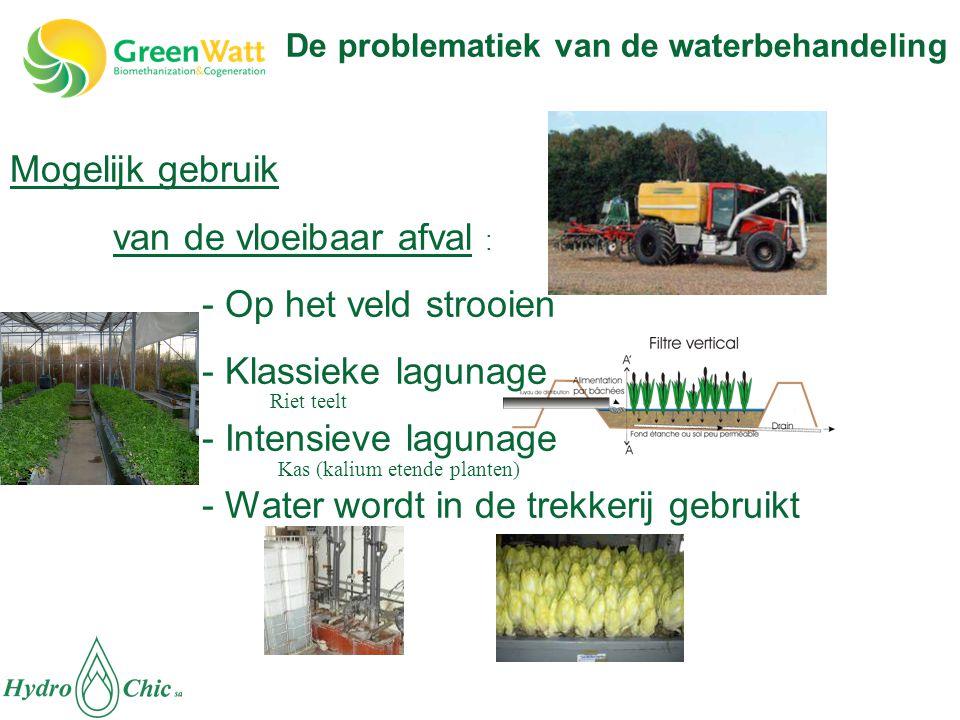Mogelijk gebruik van de vloeibaar afval : - Op het veld strooien - Klassieke lagunage - Intensieve lagunage - Water wordt in de trekkerij gebruikt Rie