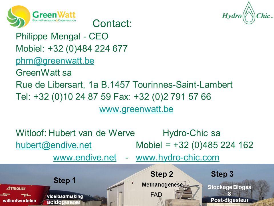 Contact: Philippe Mengal - CEO Mobiel: +32 (0)484 224 677 phm@greenwatt.be GreenWatt sa Rue de Libersart, 1a B.1457 Tourinnes-Saint-Lambert Tel: +32 (0)10 24 87 59 Fax: +32 (0)2 791 57 66 www.greenwatt.be Witloof: Hubert van de Werve Hydro-Chic sa hubert@endive.nethubert@endive.net Mobiel = +32 (0)485 224 162 www.endive.netwww.endive.net - www.hydro-chic.comwww.hydro-chic.com vloeibaarmaking acidogenese Stockage Biogas & Post-digesteur Methanogenese witloofwortelen Step 2 Step 1 Step 3