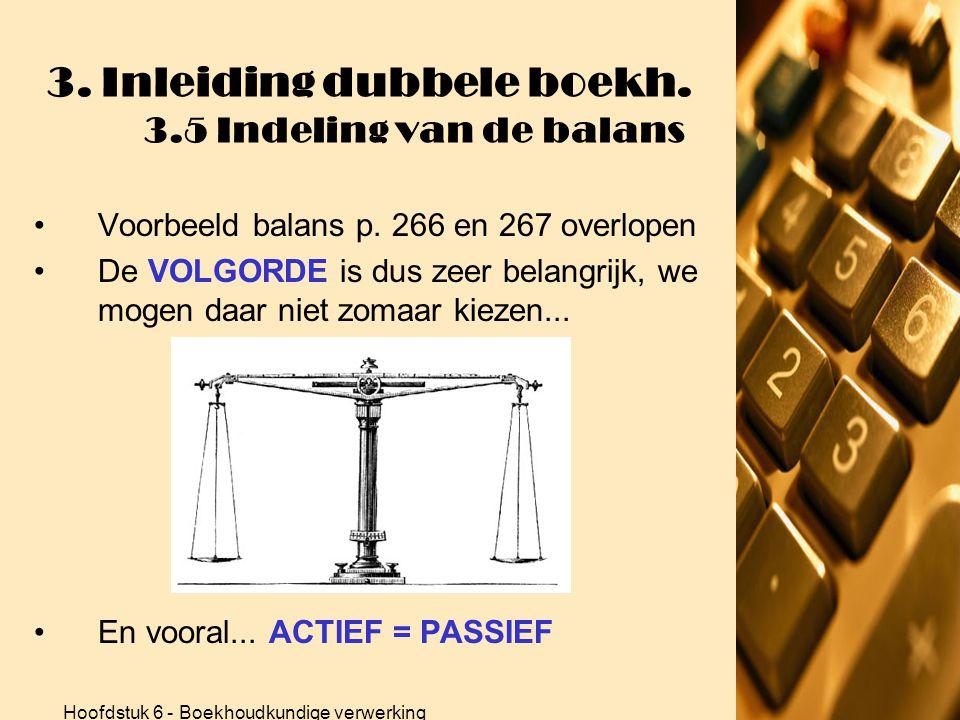 Hoofdstuk 6 - Boekhoudkundige verwerking 3. Inleiding dubbele boekh. 3.5 Indeling van de balans 2.ACTIEFZIJDE •Twee grote rubrieken: Vaste activa en V