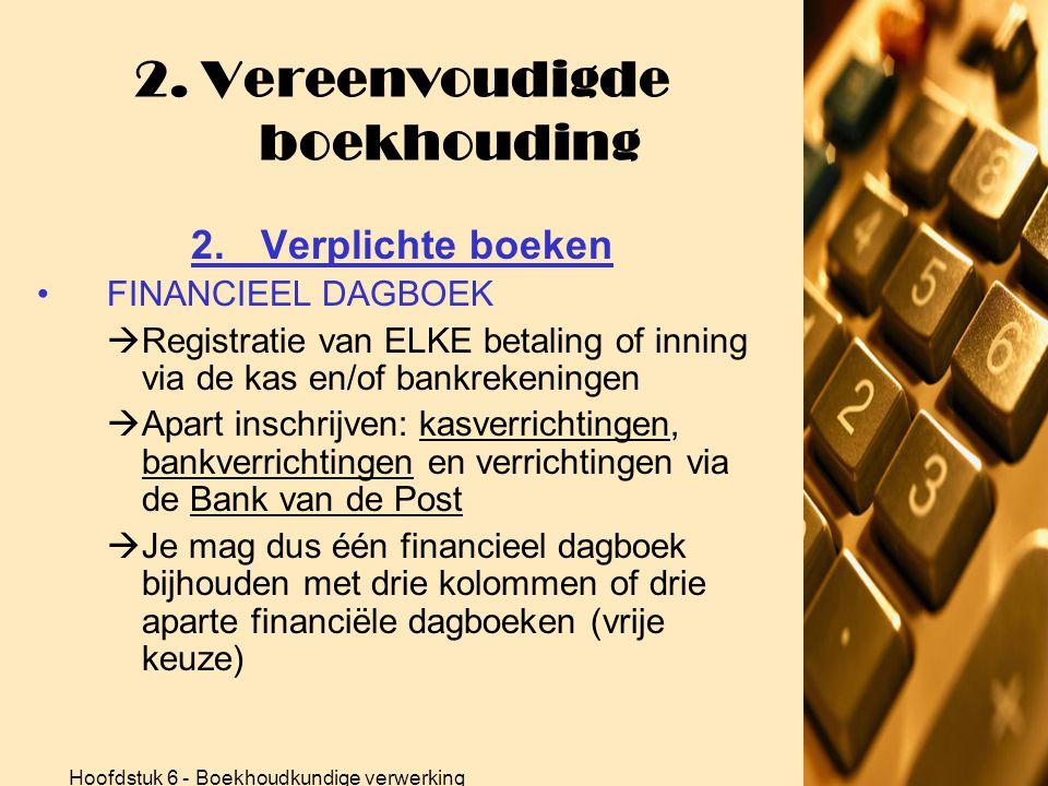 Hoofdstuk 6 - Boekhoudkundige verwerking 2. Vereenvoudigde boekhouding 2.Verplichte boeken •VERKOOPDAGBOEK  Alle verkoopfacturen nummeren  Eén maal